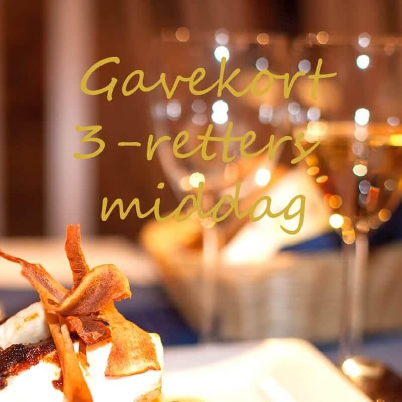 Kjøp Tre retters middag gavekort for 2 personer